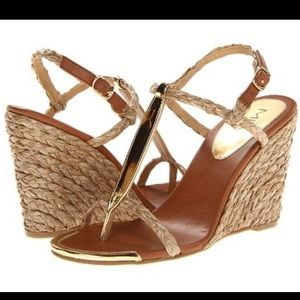Mia Tilly Raffia Wedge With Gold Accents size 7